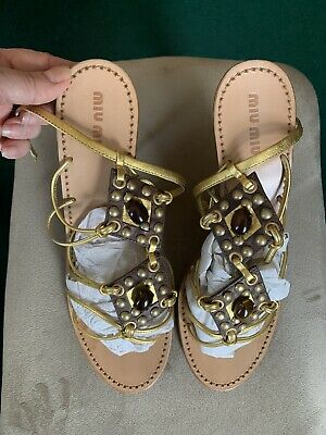 £35 • Buy Miu Miu Gold Leather Strappy Jewelled Sandals Heels Shoes Size 38.5/5.5 Uk