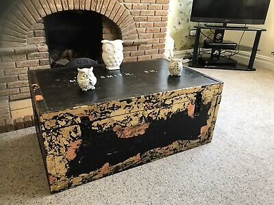 £125 • Buy Stunning Large Wooden Blanket Box Coffee Table Trunk Vintage Chest Ottoman