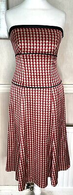 £35 • Buy Monsoon Y2K Strapless Beige Red Fit Flare Dress UK 6 / 8 Circle Print Evening