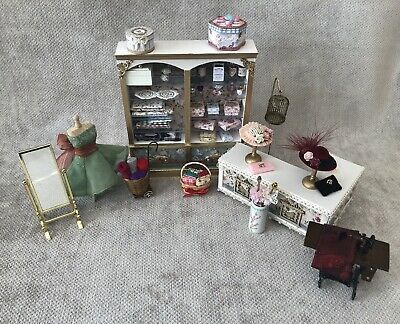 £55 • Buy Dolls House 1/12 Scale Ladies Shop Job Lot With Counter And Lots Of Accessories.