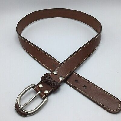 $14.99 • Buy Fossil Brown Leather Mens Belt Sz L 37 Silver Tone Oval Buckle White Stitching