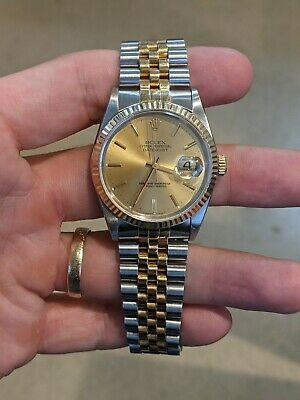 $ CDN5237.62 • Buy Rolex Datejust 36mm 16233 Stainless/Yellow Gold Champagne Dial Bracelet Watch