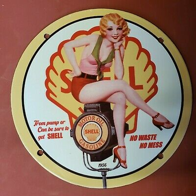 $ CDN1.20 • Buy Vintage Porcelain From Pump Or Can Be Sure To Get Shell Man Cave Garage Sign