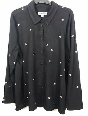 AU20 • Buy Country Road Black Embroidered Lyocell Button Up Blouse - Size 16