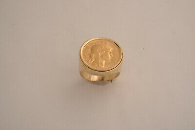 $1098.90 • Buy Large 14ct Men's Gold Ring With 1910 20 Franc Marianne Rooster French Gold Coin