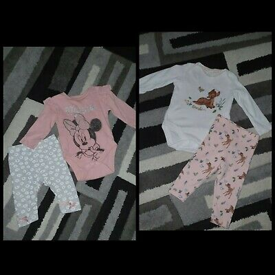 £8 • Buy Baby Girls Disney Minnie Mouse & Bambi Vest & Leggings Outfits 3-6 New