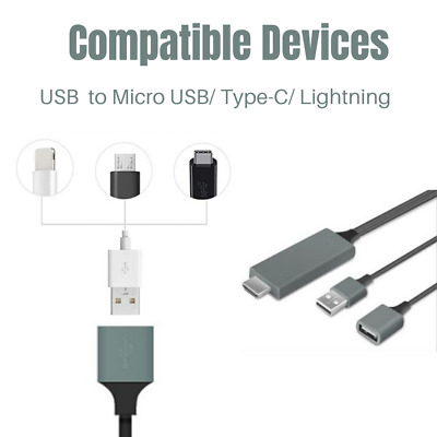 $ CDN14.41 • Buy 1080 HDMI USB AV Mirroring Cable 6Ft Phone To TV HDTV Adapter For IPhone Android