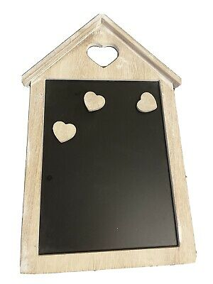£0.99 • Buy House Shaped Wooden Magnetic Memo Organiser Chalkboard With 3 Magnetic Hearts