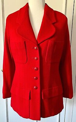£424.09 • Buy Auth. CHANEL Boutique Beautiful Red Jacket CC Buttons, Size M, Made In FRANCE