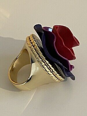 £20 • Buy MARC JACOBS Limited Edition LOLA Red Purple Flower Ring, Hidden Storage, Empty