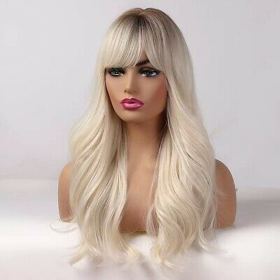 £23 • Buy 20 Inch Lace Front Wig Blonde With Bangs