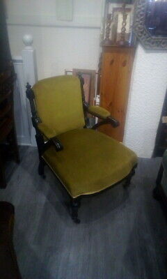 £95 • Buy Antique Ebony Upholstered Victorian Arm Chair With Original Castors