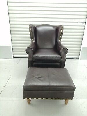 £225 • Buy Next 'sherlock' Brown Leather  Wingback Chair With Footstool  - Wing Back
