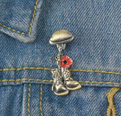 £7.99 • Buy Remembrance Poppy Badge Lest We Forget Boots Helmet Rifle Charity Help For Heros