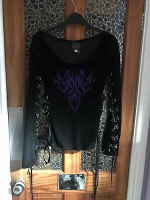 £12.70 • Buy Black Goth Velvet Top With Purple Design And Lace Up By Strange Way