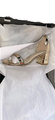 £7.50 • Buy Shoes Womens Block Heel Gold Sandle Size 4 Missguided