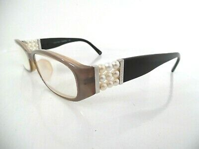 £12 • Buy Ladies Chanel Collection Perle Brown & Black Embellished Oval Eye Glasses 135