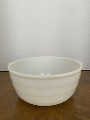 $50 • Buy Vintage Large Milk Glass GE Ribbed Mixing Bowl Double Ring Bottom 10  X 4 1/2