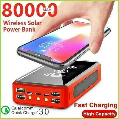 AU58.81 • Buy Solar 80000mAh Wireless Power Bank External Battery With 4 USB LED Phone Mobile