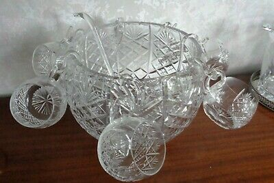 £130 • Buy Beautiful Cut Crystal Glass Punch Bowl, X6 Cups, Hooks + Ladle - Collect Shrops