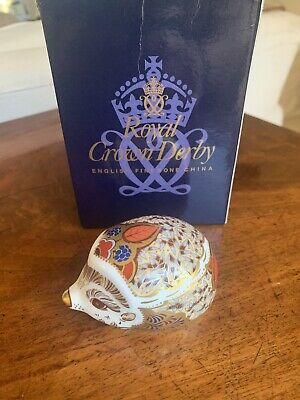 £32 • Buy Royal Crown Derby 'Bramble' Baby Hedgehog, Gold Stopper, Boxed