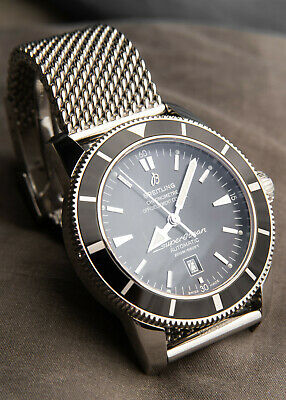 £2450 • Buy Breitling Superocean Heritage Watch 46mm Black Dial - Mesh Strap - Automatic