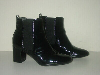 £10 • Buy BLACK PATENT LEATHER M&S CHELSEA ANKLE BOOTS Size Uk 6.5 / Eu 40 £59 Wide Fit