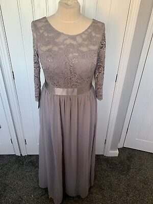 £39.99 • Buy LONG MAXI LACE EVENING OCCASION PROM DRESS GOWN Sz 20 Silver Ever Pretty Quiz?