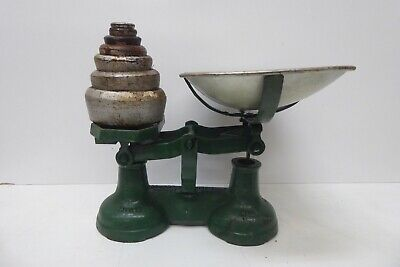 £95.42 • Buy Antique Green Kitchen Balance Scales With Set Of 7 Siddons  Cast Iron Weights