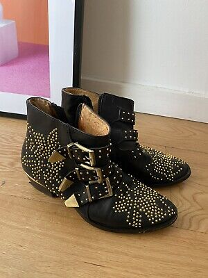 £380 • Buy Chloe Susanna Studded Black Leather Ankle Boots, Size 36, Used (RRP £930)