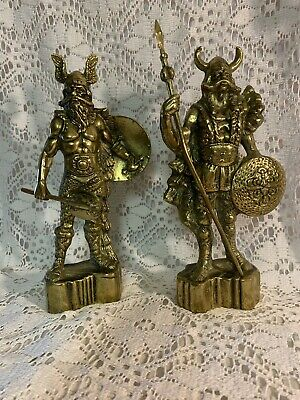 £16 • Buy Pair Of Solid Brass Viking Warrior Statues On Plinths Retro Heavy 25cm Tall