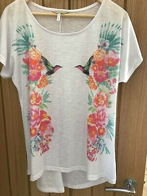 £1.10 • Buy Anthology White Longline Tunic Top With Floral/bird Design Approx Size 18 Used