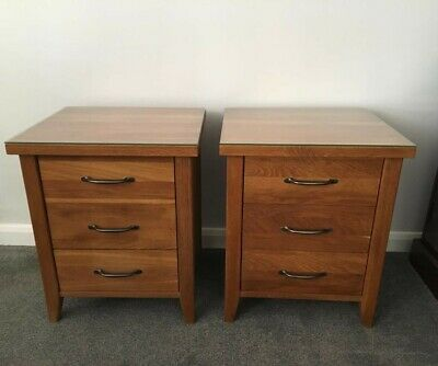 £99.99 • Buy Pair Of Oak Bedside Cabinets 2 Solid Heavy Glass Top
