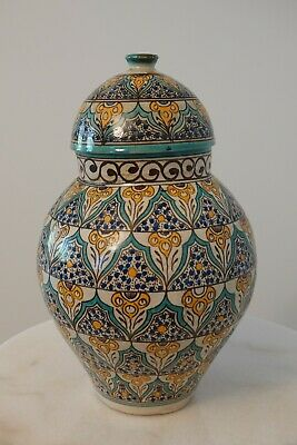 £177 • Buy Antique Moroccan Handpainted Lidded Vase From Fez