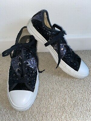 £20 • Buy Converse Black And Silver Sequin Chuck Taylor Sneakers - Size 6