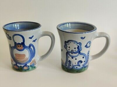 $15.50 • Buy PAIR (2) M.A. Hadley Pottery Coffee Cups  White Blue Country Mug Duck Puppy Dog