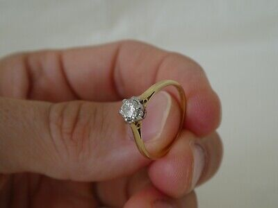 £204 • Buy Vintage 18CT Gold Solitaire Diamond Engagement Ring Size N½
