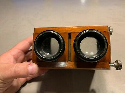 £125 • Buy Antique Wooden Mahogany Handheld Stereo Viewer / Stereoscope With 13 Slides