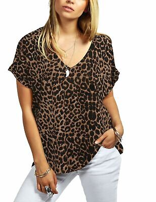 £5.49 • Buy New Ladies Printed Turn Up Short Sleeve Baggy Loose Fit V Neck T-Shirt Top