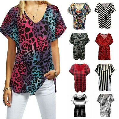 £5.99 • Buy Womens T Shirt Ladies Oversized Baggy Plus Size Top Loose V Neck Turn Up Batwing