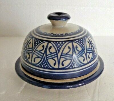 £14.99 • Buy Hand Painted Ceramic Round Butter Dish Bell * Fes Pottery * Rustic Chic