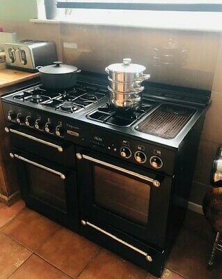 £100 • Buy Rangemaster Leisure 110 Dual Fuel, Black And Chrome, Double Oven, 5 Burners.
