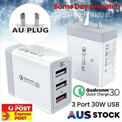 AU12.99 • Buy 30W Qualcomm 3 Port QC 3.0 Fast Charging USB Wall Charger Adapter IPhone Samsung