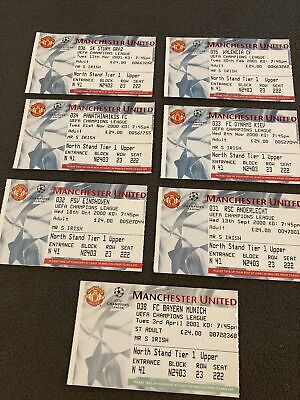 £5 • Buy Manchester United Tickets 2000/ 2001  Every Home Champions League Ticket Mint.