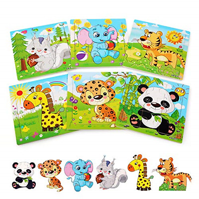 £9.18 • Buy BelleStyle Wooden Puzzle For 2 3 4 5 Years Old 6 Pack Animal Jigsaw Kids Toy