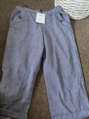 £9.99 • Buy MAINE Check Linen Cropped Trousers Size 12 BNWT