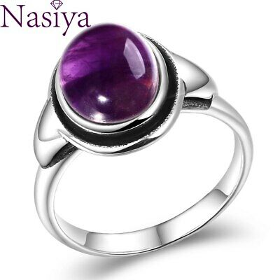 $4.69 • Buy Charms 8x10MM Amethyst Rings 925 Silver Jewelry Party Anniversary Gift Wholesale