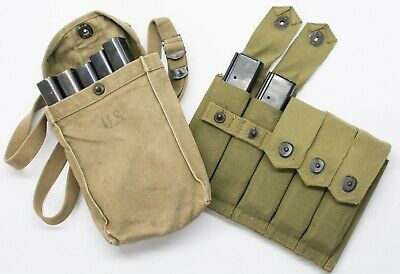 $255 • Buy Original Vintage WW2 M1 Thompson Lot Mags, Ammo Bag And Ammo Pouch