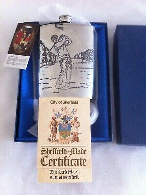 £10 • Buy Hip Flask Pewter 6oz Depicting Golfer Made In Sheffield New In Presentation Box