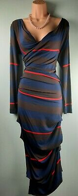 £69.99 • Buy Vivienne Westwood Anglomania  Priestess  Striped Ruched Jersey Dress 10 Uk Us 6